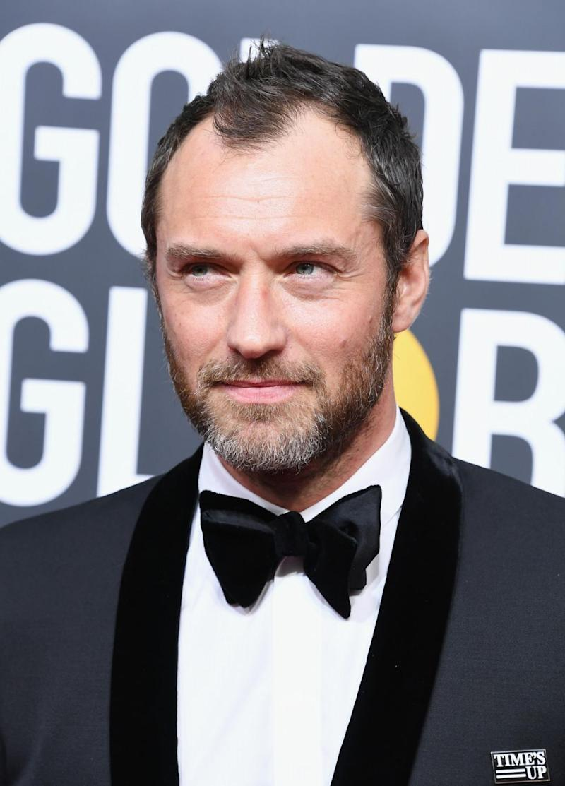 Jude Law also wore a pin. Photo: Getty