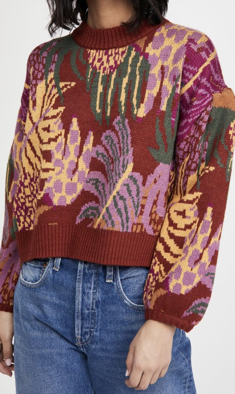 <p>You'll get lots of compliments on this <span>FARM Rio Graphic Jungle Sweater</span> ($155).</p>