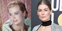 <p>Grace Kelly's delicate features and fair complexion were only a couple of the things that made her appear so elegant on the screen. Flash forward more than 60 years later and you'll find her Hollywood dopplegangër, Rosamund Pike, with the same characteristics. </p>