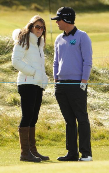 ST ANDREWS, UNITED KINGDOM - OCTOBER 06: Shane Warne and Liz Hurley attend the Alfred Dunhill Links Championships on October 06, 2012 in St Andrews, United Kingdom. (Photo by Martin Grimes/FilmMagic)