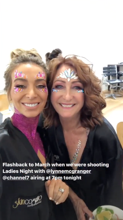 A photo of Nadia Bartel and Lynne McGranger covered in pink body glitter on set of The All New Monty: Ladies' Night. Photo: Instagram/nadiabartel.