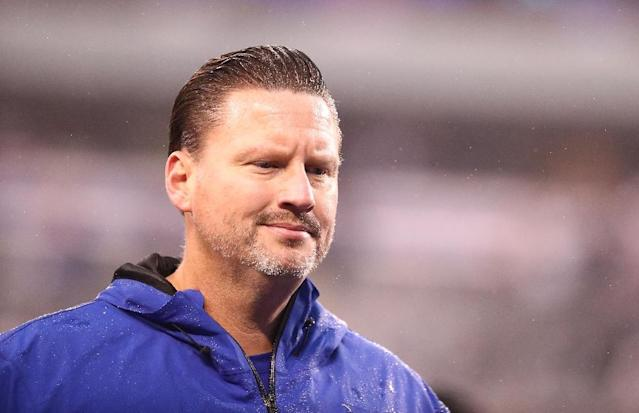 Head coach Ben McAdoo of the New York Giants looks on after a 51-17 loss against the Los Angeles Rams after their game at MetLife Stadium on November 5, 2017 in East Rutherford, New Jersey (AFP Photo/AL BELLO)