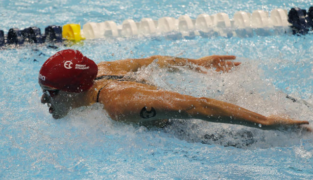 Sarah Sjostrom competes in the women's 100m butterfly during an International Swimming League event Friday, Dec. 20, 2019, in Las Vegas. (AP Photo/John Locher)