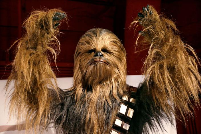 A yak hair and mohair costume of the Wookiee Chewbacca. (AP Photo/Elaine Thompson)