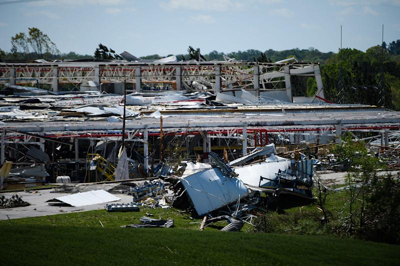 The BorgWarner Inc. manufacturing plant in Seneca is heavily damaged after a tornado hit the area early Monday, April 13, 2020.