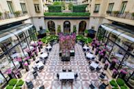 """<p>If you're in Paris to treat yourself, the luxurious <a href=""""https://www.booking.com/hotel/fr/four-seasons-george-v-paris.en-gb.html?aid=1922306&label=paris-hotels"""" rel=""""nofollow noopener"""" target=""""_blank"""" data-ylk=""""slk:Four Seasons Hotel George V"""" class=""""link rapid-noclick-resp"""">Four Seasons Hotel George V</a> in the heart of the city's 'Golden Triangle' is the ultimate choice. With views of the Eiffel Tower from its oversized suites, designer shops on its doorstep and landmarks like the Champs-Élysees just a five-minute walk away; you can't go wrong.</p><p>The Art Deco hotel has three restaurants - with no less than five Michelin stars among them! Plus, there's a decadent spa where you can rest your feet after a day's sightseeing and a courtyard where you can enjoy a crisp glass of wine in the evenings. Does it get any better than this?</p><p><a class=""""link rapid-noclick-resp"""" href=""""https://www.booking.com/hotel/fr/four-seasons-george-v-paris.en-gb.html?aid=1922306&label=paris-hotels"""" rel=""""nofollow noopener"""" target=""""_blank"""" data-ylk=""""slk:CHECK AVAILABILITY"""">CHECK AVAILABILITY</a></p>"""