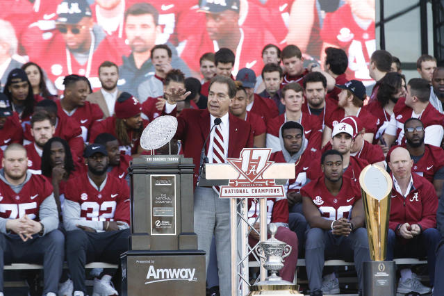 Alabama coach Nick Saban speaks to fans during the school's national championship celebration, Saturday, Jan. 20, 2018, in Tuscaloosa. (AP Photo/Brynn Anderson)