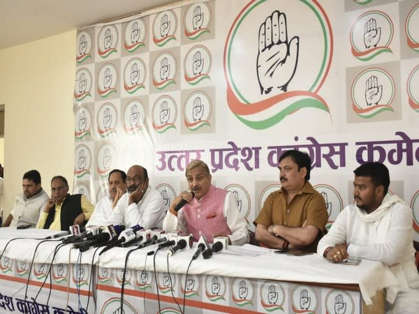 Visuals from the press conference by Congress leaders in Lucknow on Wednesday. (ANI)