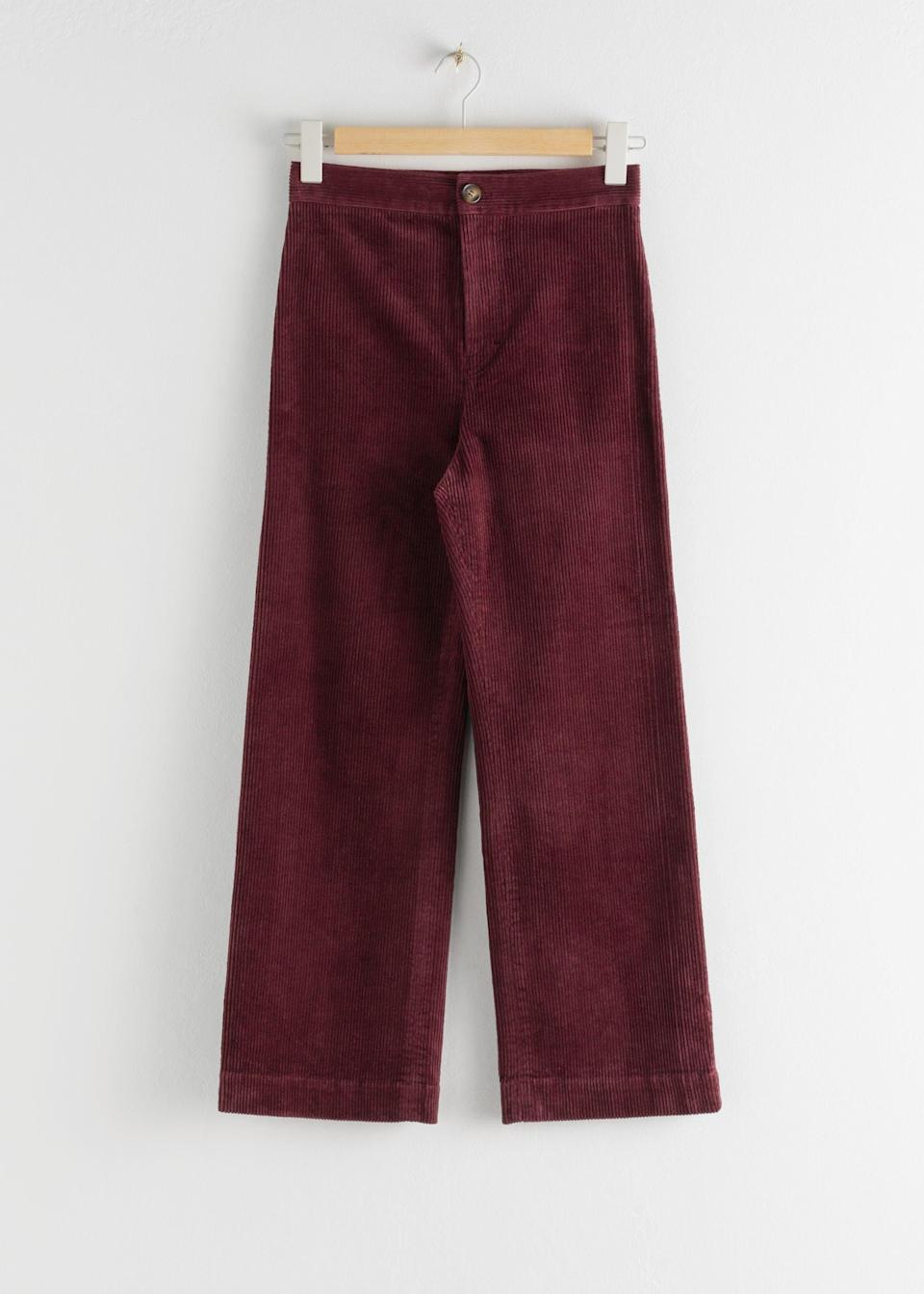 """<br><br><strong>& Other Stories</strong> Relaxed Corduroy Trousers, $, available at <a href=""""https://www.stories.com/en_gbp/clothing/trousers/corduroy-trousers/product.relaxed-corduroy-trousers-red.0805273001.html"""" rel=""""nofollow noopener"""" target=""""_blank"""" data-ylk=""""slk:& Other Stories"""" class=""""link rapid-noclick-resp"""">& Other Stories</a>"""