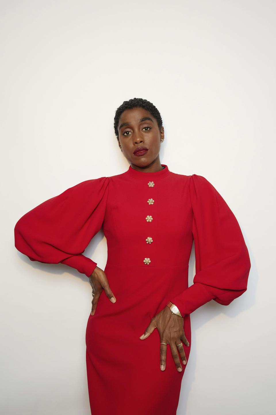 """Lashana Lynch poses for a portrait to promote the film """"No Time to Die"""" on Sunday, Oct. 3, 2021, in New York. (Photo by Taylor Jewell/Invision/AP)"""
