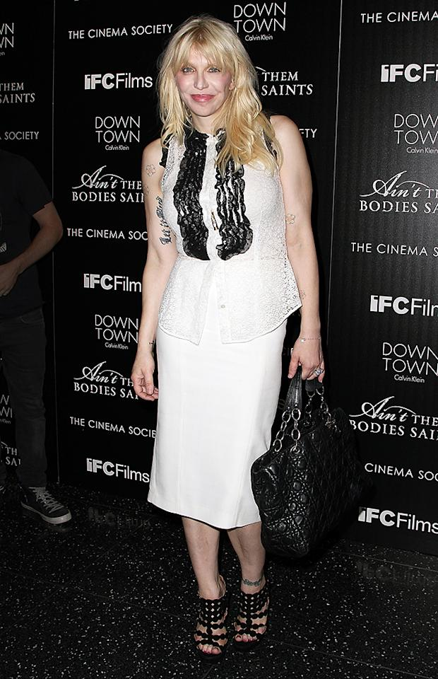 """NEW YORK, NY - AUGUST 13:  Courtney Love attends the Downtown Calvin Klein with The Cinema Society screening of IFC Films' """"Ain't Them Bodies Saints"""" at The Museum of Modern Art on August 13, 2013 in New York City.  (Photo by Monica Schipper/FilmMagic)"""