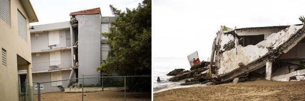 Left: A structure inRincón damaged during hurricane María in 2017 remains partly collapsed. Right: A building severely damaged during the hurricane has fallen into the sea. (Photo: Erika P. Rodriguez for HuffPost)