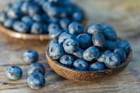 """<p><a href=""""https://www.prevention.com/food-nutrition/a20501320/blueberries-recipes/"""" rel=""""nofollow noopener"""" target=""""_blank"""" data-ylk=""""slk:Blueberries"""" class=""""link rapid-noclick-resp"""">Blueberries</a>' deep blue color comes from anthocyanins, powerful compounds that exert antioxidant activity. So it's worth getting your fill: """"Antioxidants function to inhibit the formation of free radicals, rapidly changing molecules that are damaging to DNA,"""" Dr. Mandal explains. And indeed, people who consume higher levels of anthocyanins have less inflammation and oxidative stress, says <a href=""""https://www.aicr.org/cancer-prevention/food-facts/blueberries/"""" rel=""""nofollow noopener"""" target=""""_blank"""" data-ylk=""""slk:the AICR"""" class=""""link rapid-noclick-resp"""">the AICR</a>.</p><p><strong>Try it:</strong> <a href=""""https://www.prevention.com/food-nutrition/recipes/a22037124/chicken-blueberry-chimichurri-skewers/"""" rel=""""nofollow noopener"""" target=""""_blank"""" data-ylk=""""slk:Chicken & Blueberry Chimichurri Skewers"""" class=""""link rapid-noclick-resp"""">Chicken & Blueberry Chimichurri Skewers</a></p>"""
