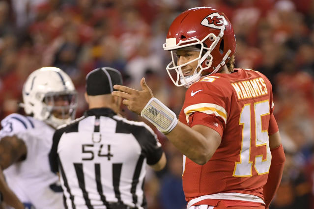 "<a class=""link rapid-noclick-resp"" href=""/nfl/teams/kansas-city/"" data-ylk=""slk:Kansas City Chiefs"">Kansas City Chiefs</a> quarterback Patrick Mahomes (15) looks to the sideline during the first half of the team's NFL football game against the <a class=""link rapid-noclick-resp"" href=""/nfl/teams/indianapolis/"" data-ylk=""slk:Indianapolis Colts"">Indianapolis Colts</a> in Kansas City, Mo., Sunday, Oct. 6, 2019. (AP Photo/Reed Hoffmann)"
