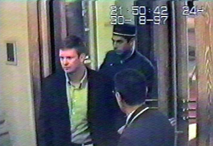 Mr Rees captured on CCTV at the Ritz Hotel in Paris hours before the crash (Picture: Rex)
