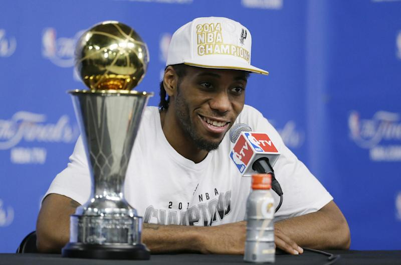 Most Valuable Player San Antonio Spurs Forward Kawhi Leonard Listens To A Question At News