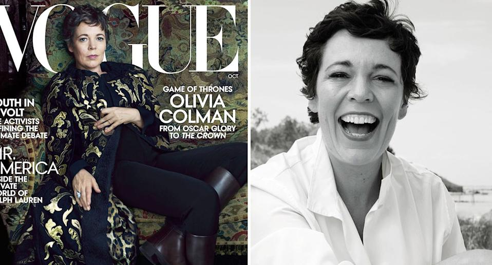 Olivia Colman stars on the front of US Vogue. [Photo: Instagram/Vogue]