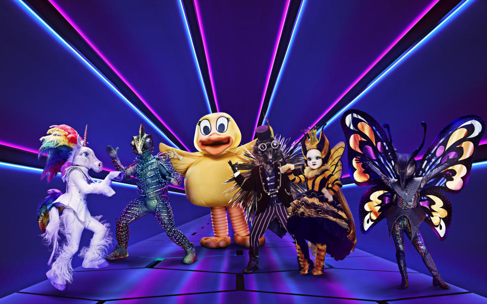 The characters from The Masked Singer UK's first series. (ITV/Bandicoot TV)