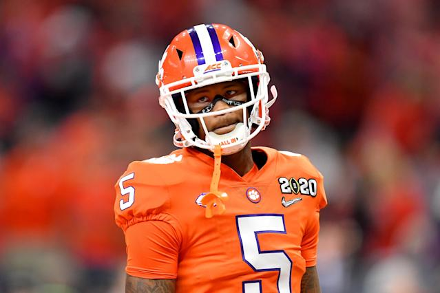 Clemson's last gasp was stifled by a questionable pass interference penalty against Tee Higgins. (Alika Jenner/Getty Images)