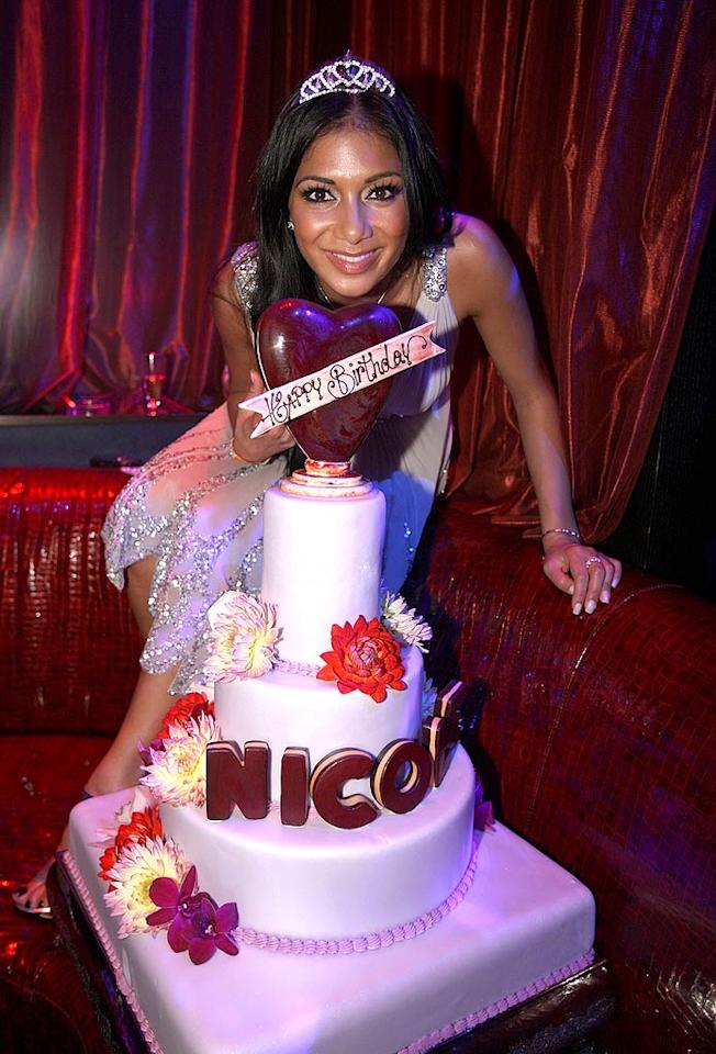 "Pussycat Dolls lead singer Nicole Scherzinger donned a tiara at her Sin City b-day soiree. Chris Weeks/<a href=""http://www.wireimage.com"" target=""new"">WireImage.com</a> - June 28, 2008"