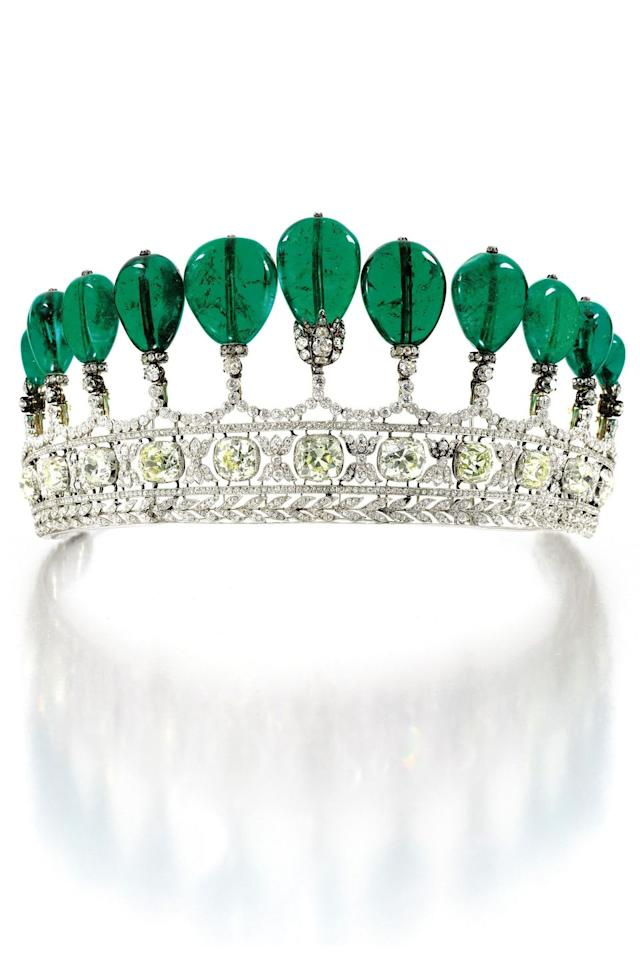 <p>With 11 pear-shaped Columbian emeralds (weighing more than 500 carats together) atop a band of cushion-cut diamonds and white diamond laurel leaves, the Donnersmarck is a truly astounding piece of jewellery. </p><p>It was commissioned around 1900 by one of the world's richest men - Guido, Count von Henckel, First Prince von Donnersmarck - for his second wife, Princess Katharina, and thought to be the work of the French jewellery house Chaumet. </p><p>In May 2011, it was auctioned at Sotheby's in Geneva with an estimate of between 5 and 10 million US dollars, but it eventually sold for a record-breaking $12,736,927 (over £9.8 million) making it the most expensive tiara ever to appear at auction.  </p>