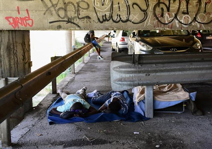 With limited beds available at migrant camps, some are forced to sleep rough in Ventimiglia (AFP Photo/MIGUEL MEDINA)