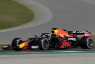Red Bull driver Max Verstappen of the Netherlands steers his car during the Portugal Formula One Grand Prix at the Algarve International Circuit near Portimao, Portugal, Sunday, May 2, 2021. (AP Photo/Manu Fernandez)