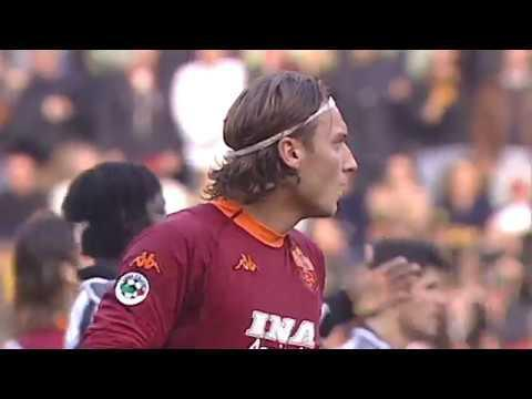 <p>Now, to a great Totti goal. He's scored some blinders down the years, but one of this writer's personal favourites is a thumping left-footed volley that came against Udinese in 2000.</p> <br><p>Following a cross field ball from Brazilian legend Cafu, Totti took the understanding of its flight and leathered the ball into the far corner, clean as a whistle. He could score all kinds of goals (as you'll be reminded of later) and helped his side to a 2-1 win.</p>