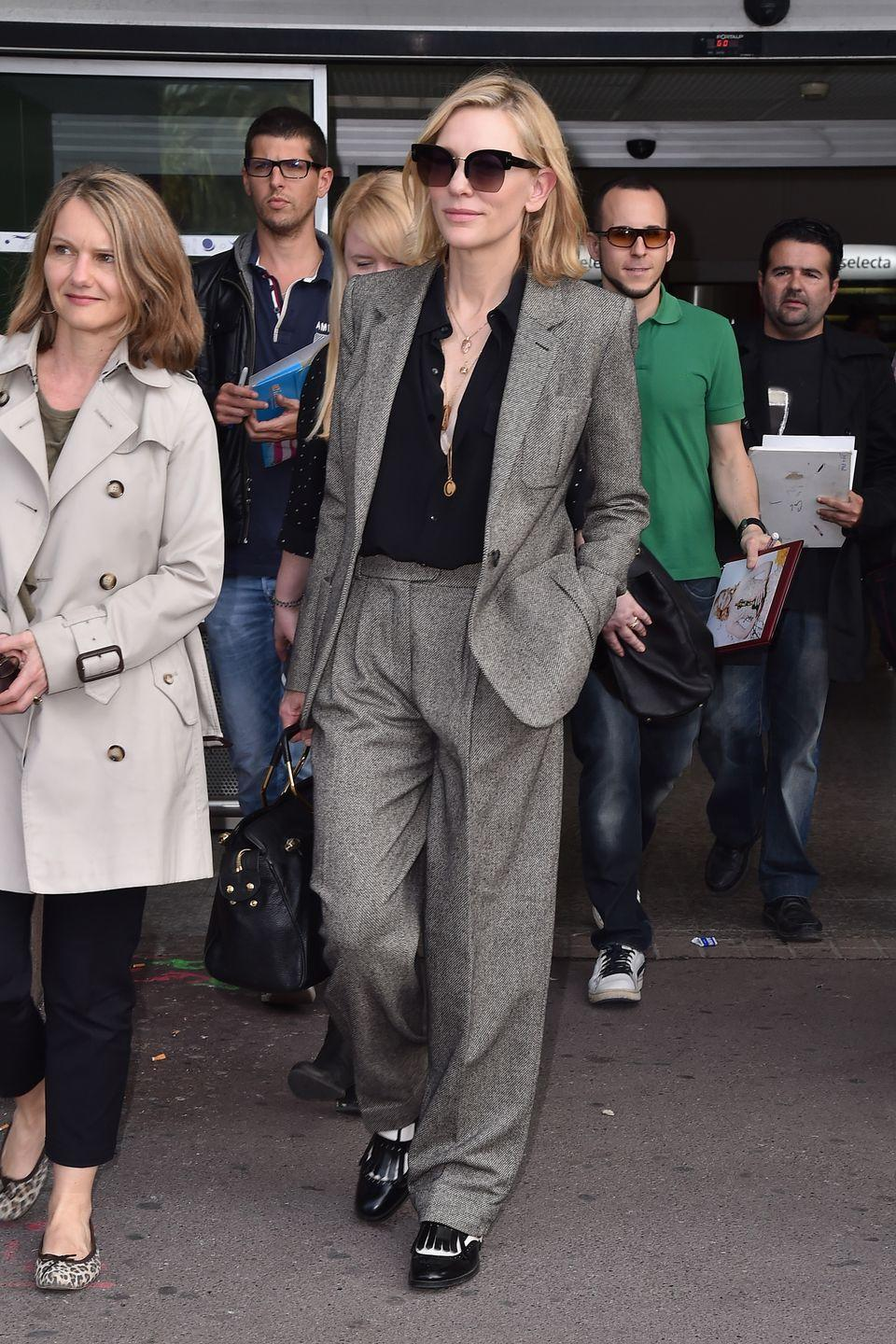 <p><strong>Cate Blanchett, 2018: </strong>We did not get the pantsuit at the airport memo. Though the off-the-plane look seems polished, is it actually comfy <em>in flight?</em> <br></p>