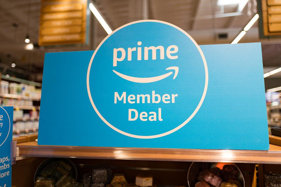Sign on grocery endcap reading Prime Member Deal, advertising discounts for Amazon Prime members at a Whole Foods Market grocery store in San Ramon, California, August 15, 2018. (Photo by Smith Collection/Gado/Getty Images)