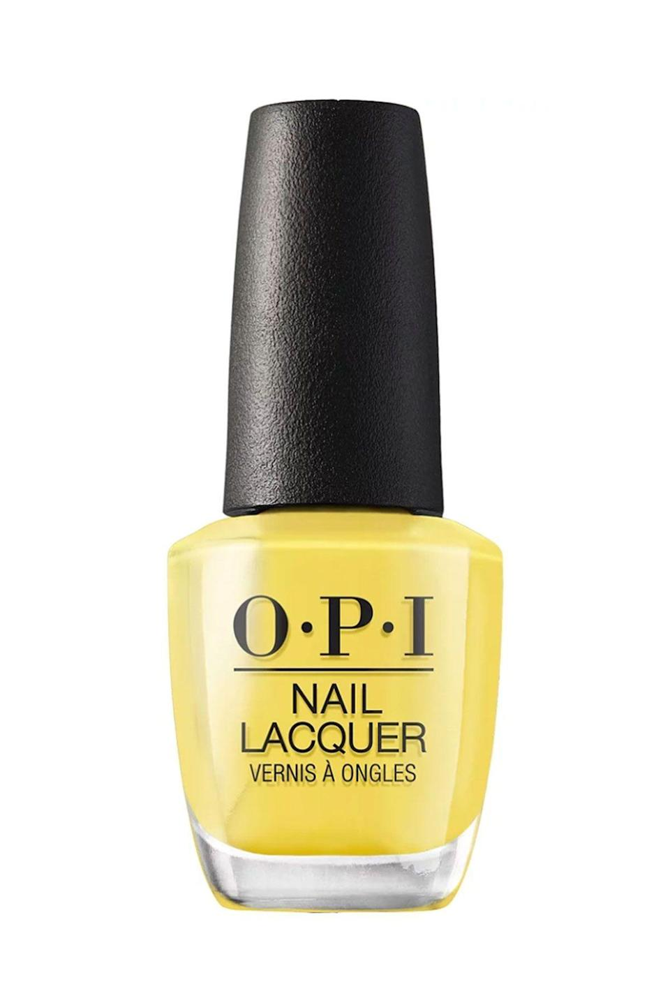 """<p><strong>OPI</strong></p><p>ulta.com</p><p><strong>$10.50</strong></p><p><a href=""""https://go.redirectingat.com?id=74968X1596630&url=https%3A%2F%2Fwww.ulta.com%2Fmexico-city-nail-lacquer-collection%3FproductId%3Dpimprod2013284&sref=https%3A%2F%2Fwww.seventeen.com%2Fbeauty%2Fnails%2Fg2741%2Fbest-spring-nail-colors%2F"""" rel=""""nofollow noopener"""" target=""""_blank"""" data-ylk=""""slk:SHOP NOW"""" class=""""link rapid-noclick-resp"""">SHOP NOW</a></p><p>It doesn't get any more spring than a fresh yellow polish. If you're looking for a sunny shade to brighten your mood post-winter, try this lemon-yellow hue.</p>"""