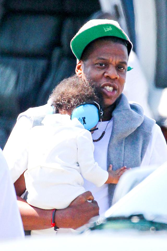 Never ridden in a helicopter? Well, you're not Blue Ivy! The 8-month-old daughter of Beyonce and Jay-Z wore noise blockers when she landed via chopper in Manhattan with her proud papa on Thursday. (8/30/2012) <br>