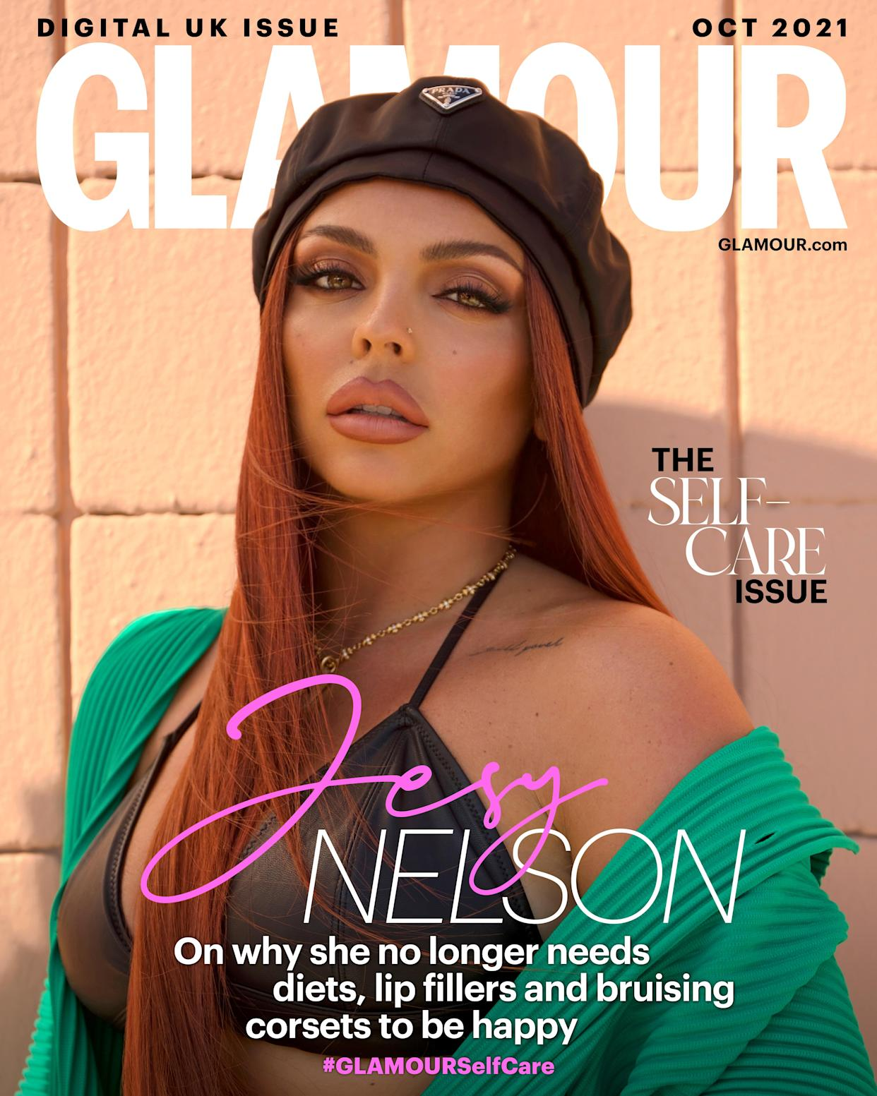 Jesy Nelson appears on the front of Glamour UK's self-care issue (Harry James)