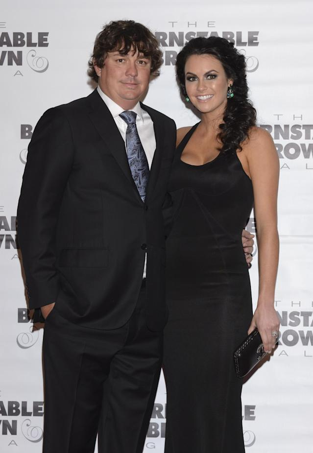 LOUISVILLE, KY - MAY 02: Golfer Jason Dufner and Amanda Dufner attend the Barnstable Brown Kentucky Derby Eve Gala at Barnstable Brown House on May 2, 2014 in Louisville, Kentucky. (Photo by Vivien Killilea/Getty Images)