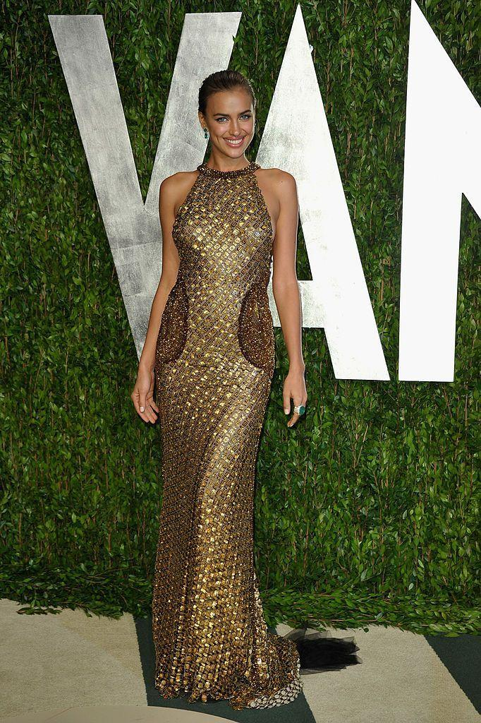 <p>Shayk wore gold sequins to the red carpet event. </p>