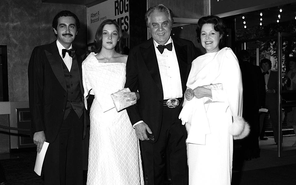 Barbara Broccoli with her parents and Dodi Fayed, at the 1979 premiere of Moonraker - Rex