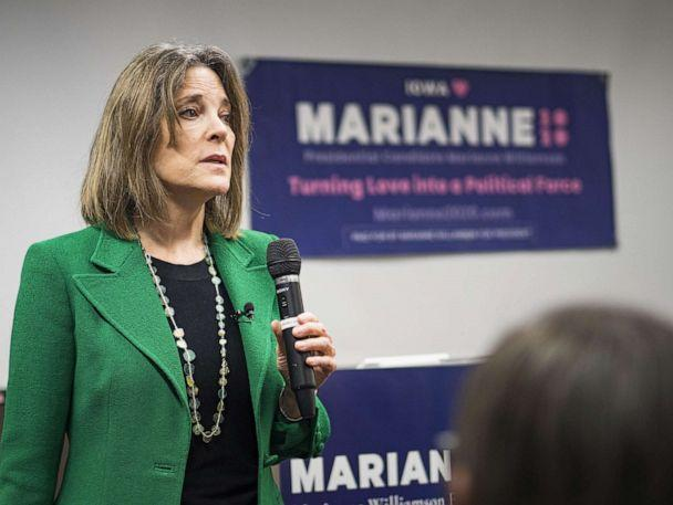 PHOTO: Marianne Williamson talks to a group of about 50 Iowans during a campaign appearance at the Central Public Library in Des Moines, Nov. 21, 2019. (Jack Kurtz/ZUMAPRESS.com via Newscom)