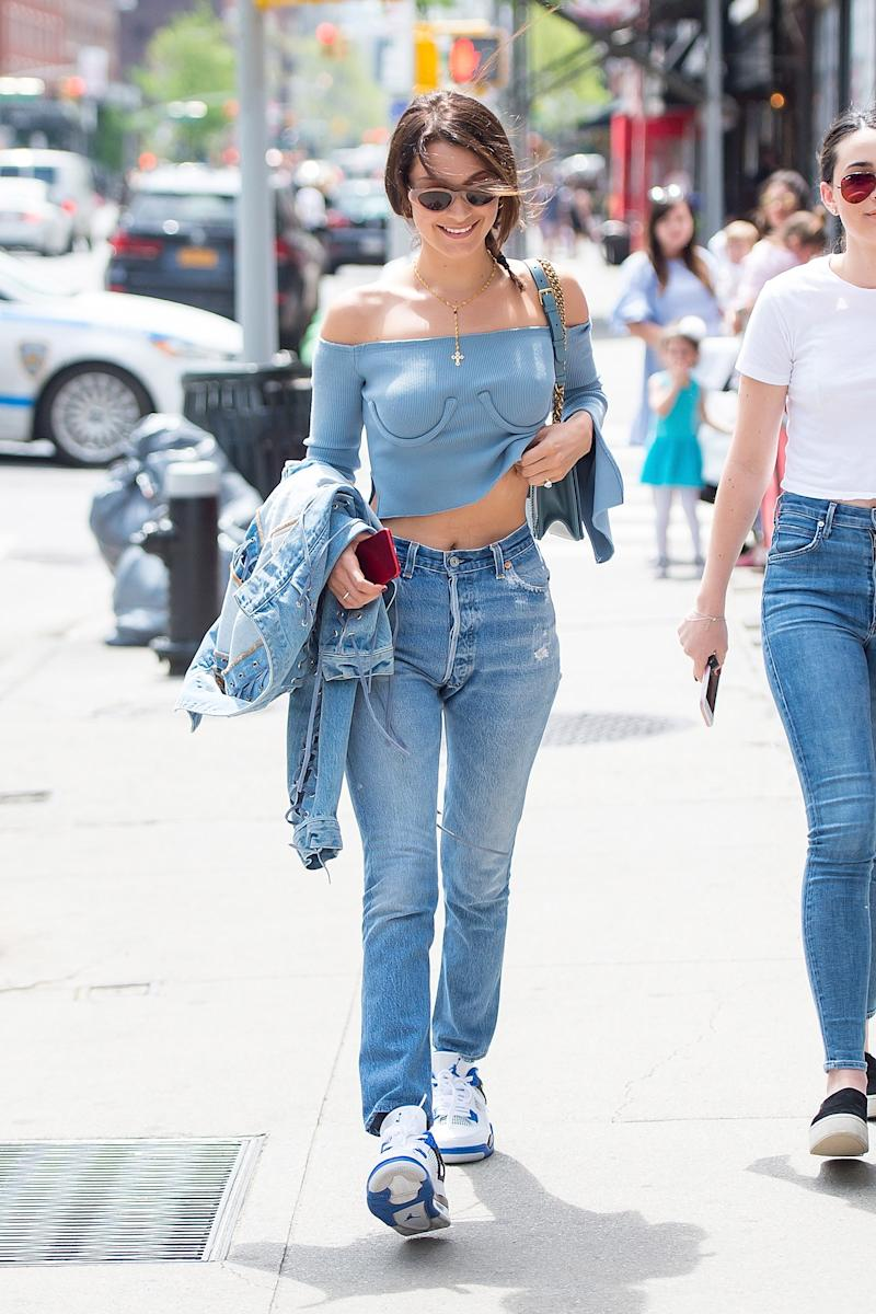 Bella Hadid is seen the East Village on April 29, 2017 in New York City.