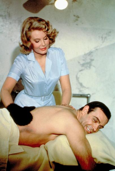 """This undated publicity photo provided by United Artists and Danjaq, LLC shows Molly Peters and Sean Connery in a scene from the James Bond 1965 film, """"Thunderball."""" Initially, Bond girls were part of the aesthetic of the series. They had more transient roles. The film is included in the MGM and 20th Century Fox Home Entertainment Blu-Ray """"Bond 50"""" anniversary set. (AP Photo/United Artists and Danjaq, LLC)"""