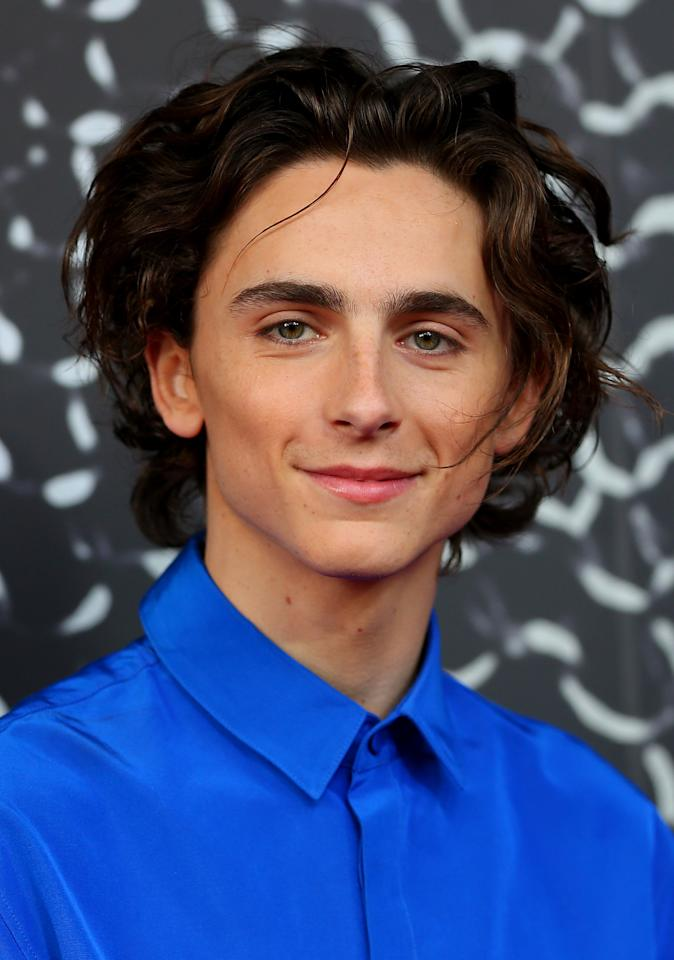 Timothée Chalamet demonstrates the life-changing magic of setting and forgetting your hair part. Establish it while wet, then let it do its own dance for the rest of the day.