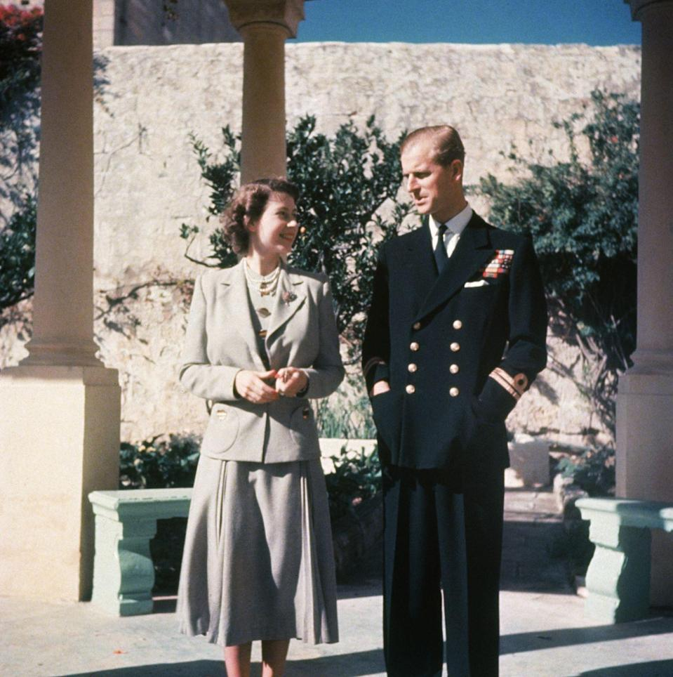 <p>Princess Elizabeth and Prince Philip during their honeymoon in Malta, where he was stationed with the Royal Navy, in 1947.</p>