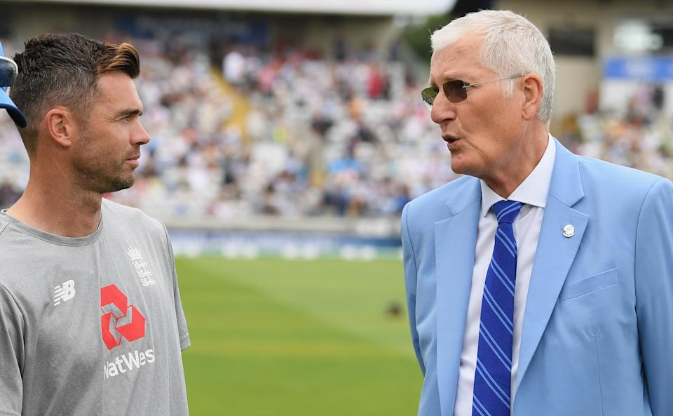 BIRMINGHAM, ENGLAND - AUGUST 03:  Bob Willis (r) and James Anderson who were members of England's greatest Test Team to mark England's 1000th Test Match  pictured during day 3 of the First Specsavers Test Match at Edgbaston on August 3, 2018 in Birmingham, England.  (Photo by Stu Forster/Getty Images)