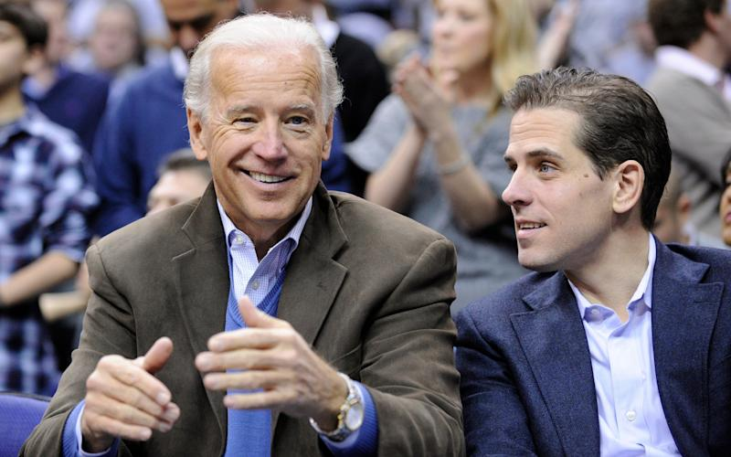Joe Biden with his son Hunter, pictured in 2010