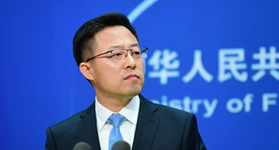 Zhao Lijian taking questions at the foreign ministry's daily press conference.