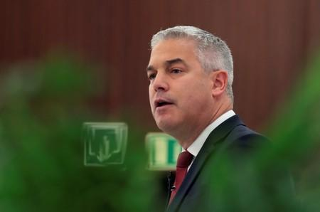 Britain's Brexit Secretary Stephen Barclay attends a breakfast meeting in Madrid