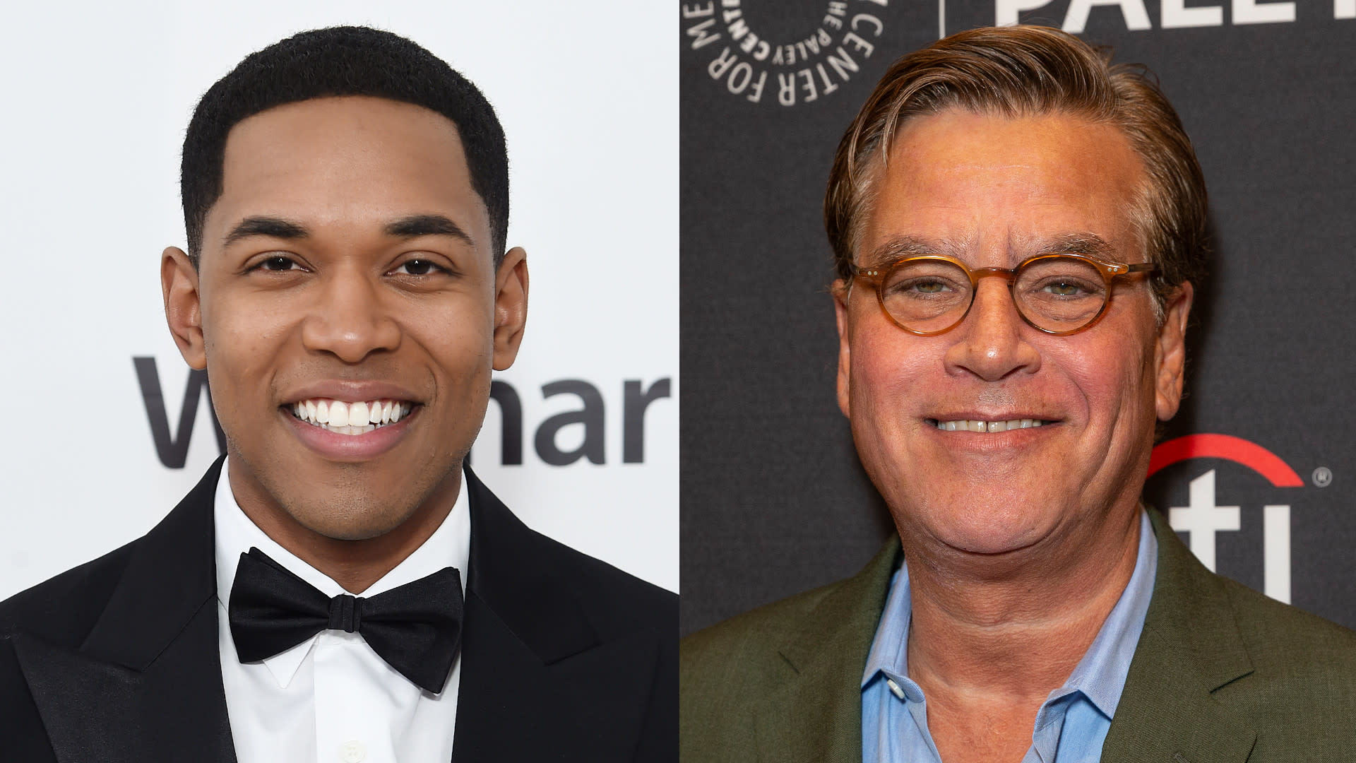 Kelvin Harrison Jr. and Aaron Sorkin. (Credit: Jamie McCarthy/Getty Images for EJAF/Lev Radin/Pacific Press/LightRocket via Getty Images)