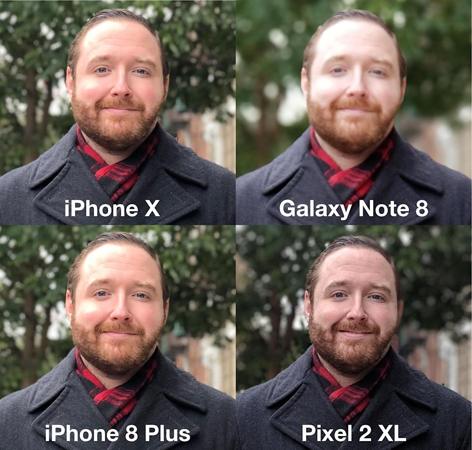 The iPhone X and iPhone 8 Plus tie for the best portrait photo.