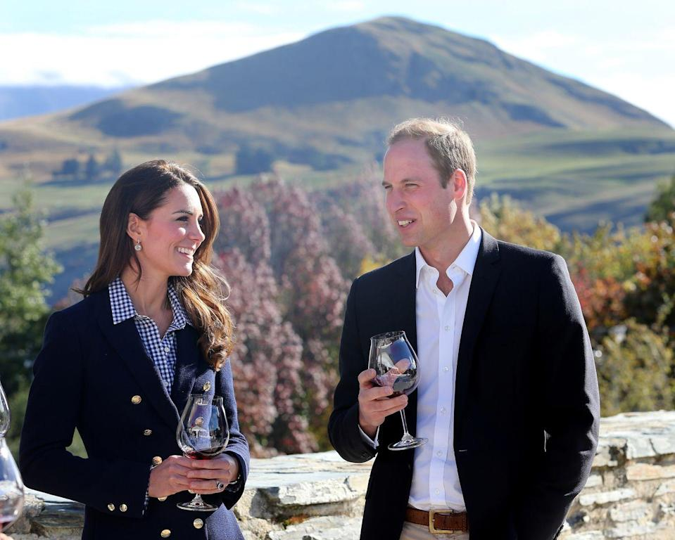 <p>The Duke and Duchess of Cambridge shared a glass of wine during a visit to one of New Zealand's many vineyards during their royal tour in 2014. </p>