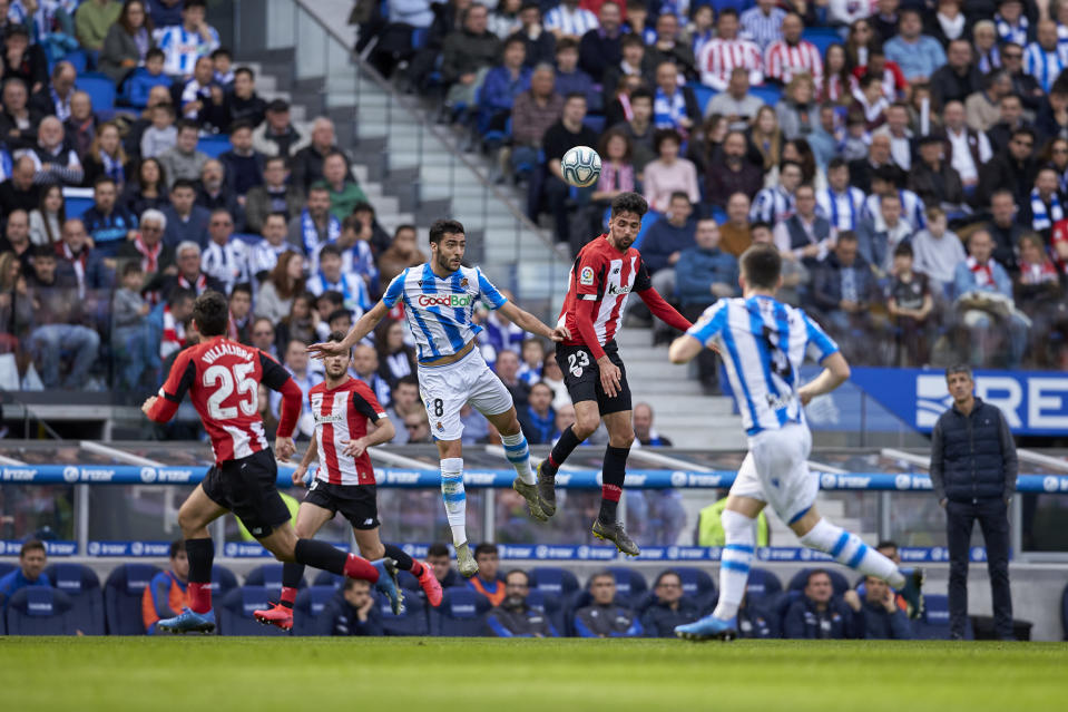 Real Sociedad and Athletic Bilbao clash in the previous Basque derby in February 2020. (PHOTO: LaLiga Santander)