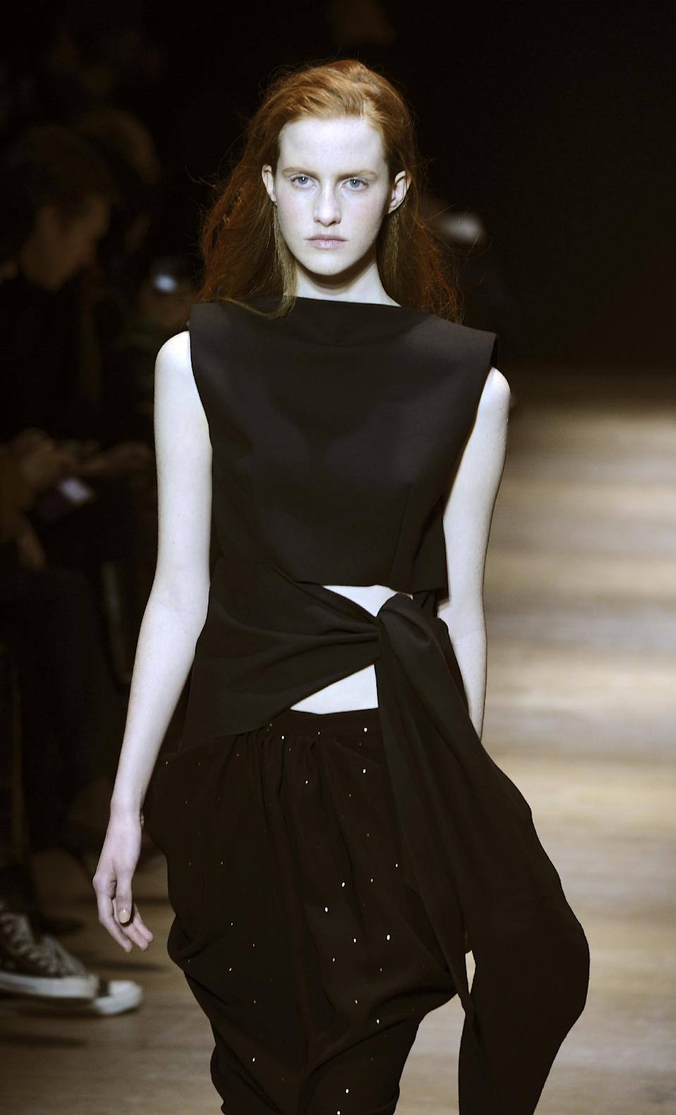A model presents a creation by Irish fashion designer Sharon Wauchob as part of her Ready to Wear's Fall-Winter 2013-2014 fashion collection, presented Thursday, Feb.28, 2013 in Paris. (AP Photo/Zacharie Scheurer)